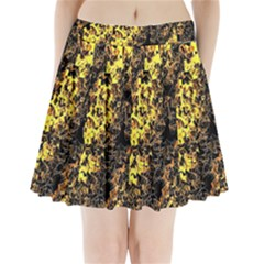 The Background Wallpaper Gold Pleated Mini Skirt