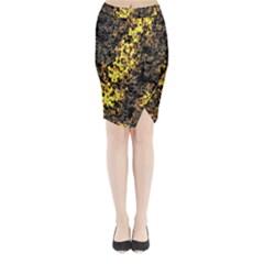 The Background Wallpaper Gold Midi Wrap Pencil Skirt