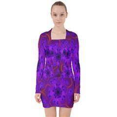 Fractal Mandelbrot Julia Lot V Neck Bodycon Long Sleeve Dress