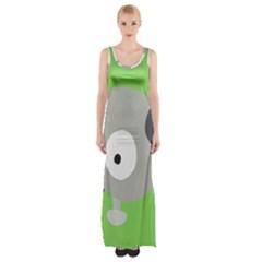 Magnemite (blue) Maxi Thigh Split Dress