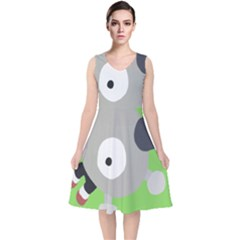 Magnemite (blue) V Neck Midi Sleeveless Dress