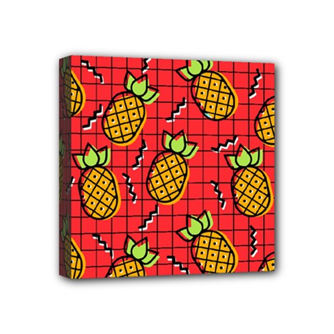 Fruit Pineapple Red Yellow Green Mini Canvas 4  X 4