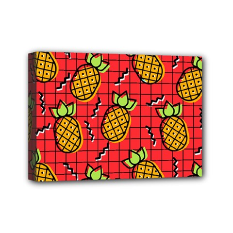 Fruit Pineapple Red Yellow Green Mini Canvas 7  X 5