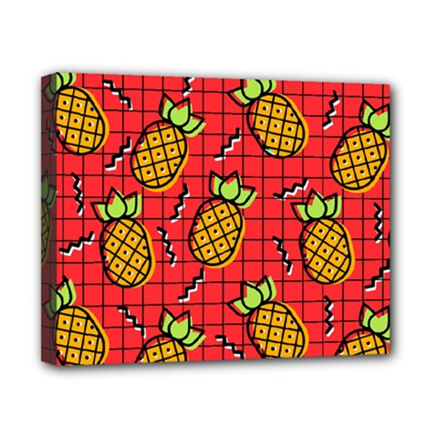 Fruit Pineapple Red Yellow Green Canvas 10  X 8