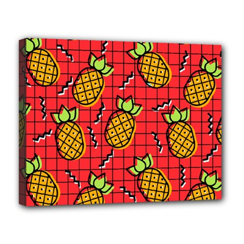 Fruit Pineapple Red Yellow Green Canvas 14  X 11