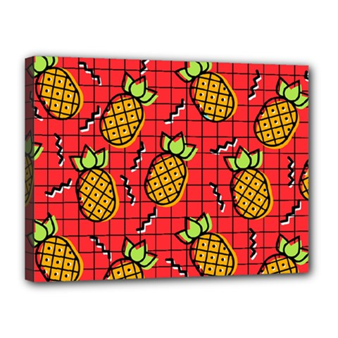 Fruit Pineapple Red Yellow Green Canvas 16  X 12