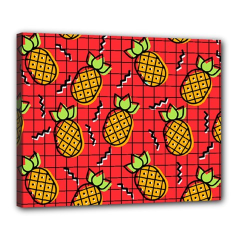 Fruit Pineapple Red Yellow Green Canvas 20  X 16
