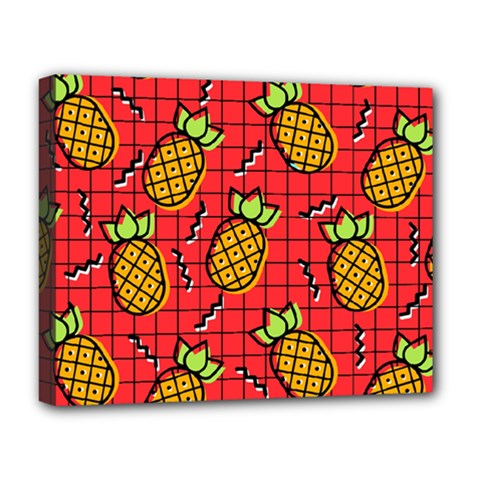 Fruit Pineapple Red Yellow Green Deluxe Canvas 20  X 16