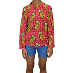 Fruit Pineapple Red Yellow Green Kids  Long Sleeve Swimwear