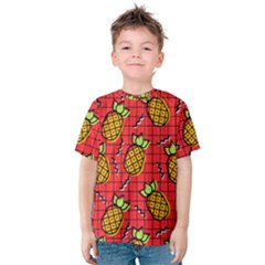 Fruit Pineapple Red Yellow Green Kids  Cotton Tee