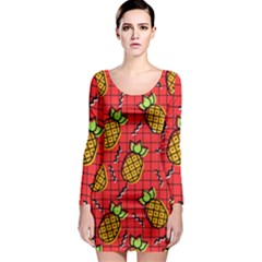Fruit Pineapple Red Yellow Green Long Sleeve Bodycon Dress