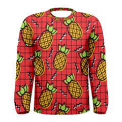 Fruit Pineapple Red Yellow Green Men s Long Sleeve Tee
