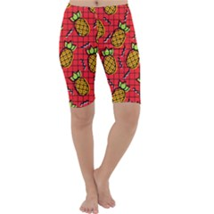 Fruit Pineapple Red Yellow Green Cropped Leggings