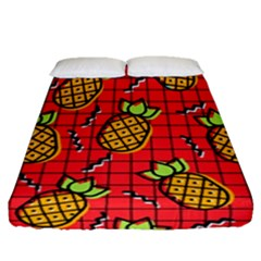 Fruit Pineapple Red Yellow Green Fitted Sheet (queen Size)