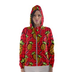 Fruit Pineapple Red Yellow Green Hooded Wind Breaker (women)