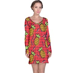 Fruit Pineapple Red Yellow Green Long Sleeve Nightdress
