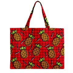 Fruit Pineapple Red Yellow Green Zipper Mini Tote Bag