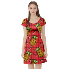 Fruit Pineapple Red Yellow Green Short Sleeve Skater Dress