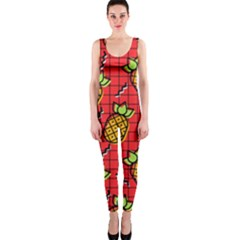Fruit Pineapple Red Yellow Green Onepiece Catsuit