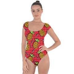 Fruit Pineapple Red Yellow Green Short Sleeve Leotard