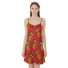 Fruit Pineapple Red Yellow Green Satin Night Slip