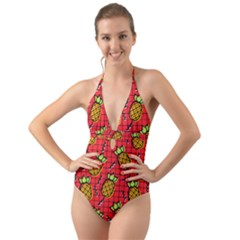 Fruit Pineapple Red Yellow Green Halter Cut Out One Piece Swimsuit