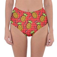 Fruit Pineapple Red Yellow Green Reversible High Waist Bikini Bottoms