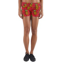 Fruit Pineapple Red Yellow Green Yoga Shorts