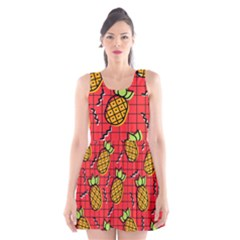Fruit Pineapple Red Yellow Green Scoop Neck Skater Dress