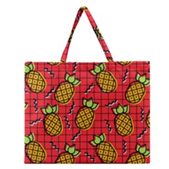 Fruit Pineapple Red Yellow Green Zipper Large Tote Bag