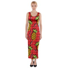 Fruit Pineapple Red Yellow Green Fitted Maxi Dress