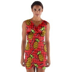 Fruit Pineapple Red Yellow Green Wrap Front Bodycon Dress