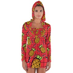Fruit Pineapple Red Yellow Green Long Sleeve Hooded T Shirt