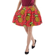Fruit Pineapple Red Yellow Green A Line Pocket Skirt