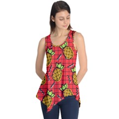 Fruit Pineapple Red Yellow Green Sleeveless Tunic