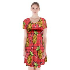 Fruit Pineapple Red Yellow Green Short Sleeve V Neck Flare Dress