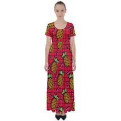 Fruit Pineapple Red Yellow Green High Waist Short Sleeve Maxi Dress