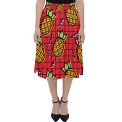 Fruit Pineapple Red Yellow Green Folding Skater Skirt