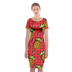 Fruit Pineapple Red Yellow Green Classic Short Sleeve Midi Dress