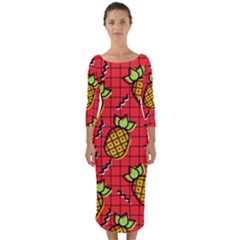 Fruit Pineapple Red Yellow Green Quarter Sleeve Midi Bodycon Dress