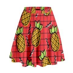 Fruit Pineapple Red Yellow Green High Waist Skirt