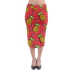 Fruit Pineapple Red Yellow Green Midi Pencil Skirt