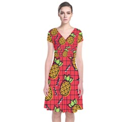Fruit Pineapple Red Yellow Green Short Sleeve Front Wrap Dress