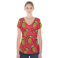 Fruit Pineapple Red Yellow Green Short Sleeve Front Detail Top