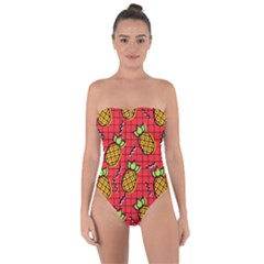 Fruit Pineapple Red Yellow Green Tie Back One Piece Swimsuit