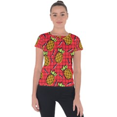 Fruit Pineapple Red Yellow Green Short Sleeve Sports Top