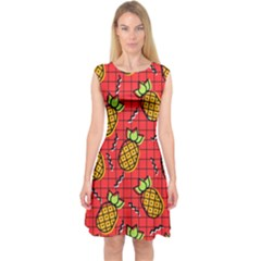 Fruit Pineapple Red Yellow Green Capsleeve Midi Dress