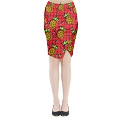 Fruit Pineapple Red Yellow Green Midi Wrap Pencil Skirt