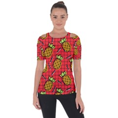 Fruit Pineapple Red Yellow Green Short Sleeve Top