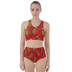 Fruit Pineapple Red Yellow Green Racer Back Bikini Set
